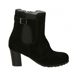 Woman's ankle boot with elastic, zipper and buckle in black suede heel 6 - Available sizes:  32, 33, 34, 42, 43, 44, 45