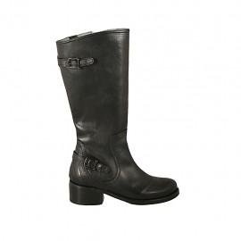Botas para mujer con cremallera y hebillas en piel negra tacon 4 - Tallas disponibles:  42, 43, 44
