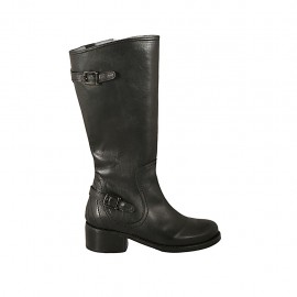 Woman's boot with zipper and buckles in black leather heel 4 - Available sizes:  42, 43, 44