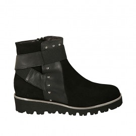 Woman's ankle boot with zipper, elastic band and studs in black suede and leather wedge heel 3 - Available sizes:  33, 34, 44