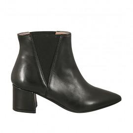 Botines puntiagudos para mujer con elasticos en piel negra tacon 5 - Tallas disponibles:  33