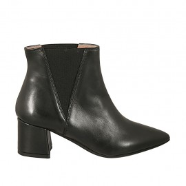 Bottines à bout pointu pour femmes avec elastiques en cuir noir talon 5 - Pointures disponibles:  33, 34