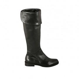 Botas para mujeres con solapa y cremallera en piel negra tacon 2 - Tallas disponibles:  32, 34, 42, 43, 44, 45