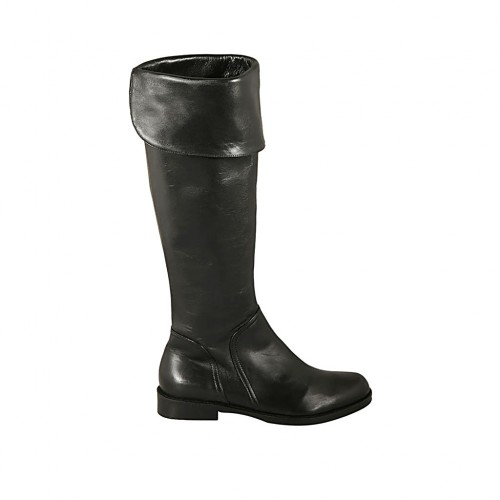 Woman's boot with turnover and zipper in black leather heel 2 - Available sizes:  32