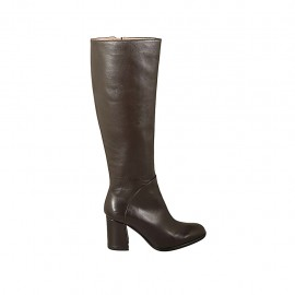 Woman's boot in brown leather with zipper heel 7 - Available sizes:  32, 33, 34, 42, 43, 44, 45