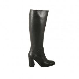 Damenstiefel mit Rei?verschluss aus schwarzem Leder Absatz 8 - Verfügbare Größen:  33, 42, 43