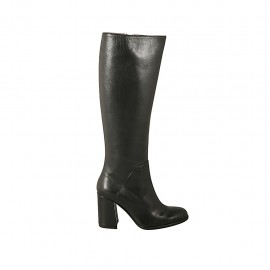 Woman's boot with zipper in black leather heel 8 - Available sizes:  32, 33, 42, 43