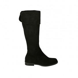Botas para mujeres con solapa y cremallera en gamuza negra tacon 2 - Tallas disponibles:  44