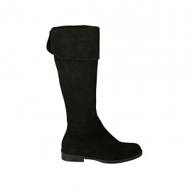 Woman's boot with turnover and zipper in black suede heel 2 - Available sizes:  34, 43, 44