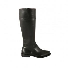 Botas para mujer con cremallera interna en piel de color negro tacon 2 - Tallas disponibles:  32, 33