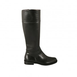 Woman's boot with zipper in black leather heel 2 - Available sizes:  32, 33