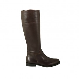 Woman's boot with zipper in brown leather heel 2 - Available sizes:  32, 44