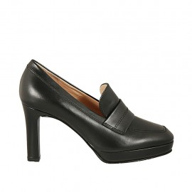 Woman's platform shoe in black leather heel 8 - Available sizes:  42, 43, 44