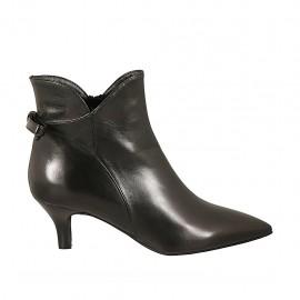 Bottines à bout pointu pour femmes avec noeud et fermeture éclair en cuir noir talon 6 - Pointures disponibles:  33