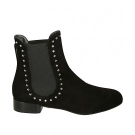 Botines para mujer con elasticos y tachuelas en gamuza negra tacon 2 - Tallas disponibles:  33, 34, 42, 43, 45, 46