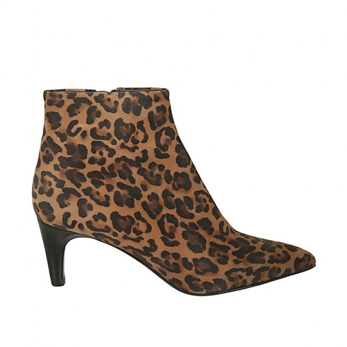Woman's pointy ankle boot with zipper in spotted suede heel 6 - Available sizes:  31, 42, 46, 47
