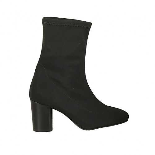 Woman's ankle boot in black elastic fabric heel 7 - Available sizes:  32, 33, 34, 42, 43, 46