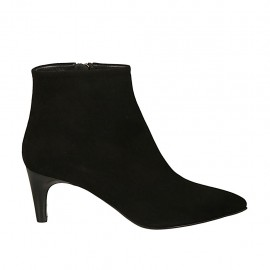 Woman's pointy ankle boot with zipper in black suede heel 6 - Available sizes:  45, 46, 47