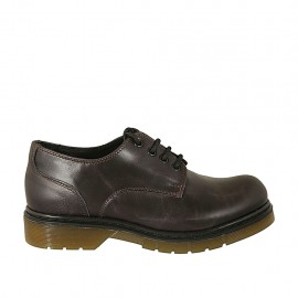Woman's laced derby shoe in brown leather heel 3 - Available sizes:  33, 34, 42, 43, 44, 45