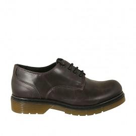 Zapato derby con cordones para mujer en piel marron tacon 3 - Tallas disponibles:  33, 34, 42, 43, 44, 45