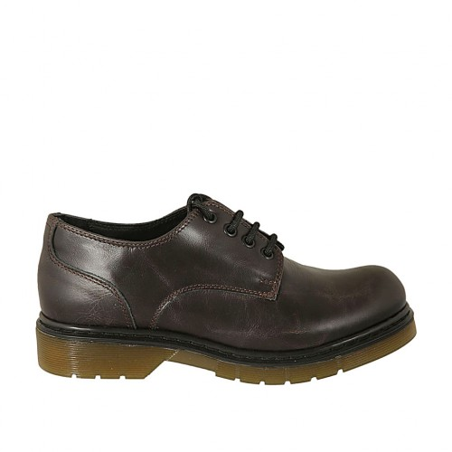 Woman's laced derby shoe in brown leather heel 3 - Available sizes:  33, 34, 43, 44, 45