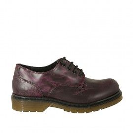 Woman's laced derby shoe in purple maroon marbled leather heel 3 - Available sizes:  33, 34, 42, 43, 44, 45