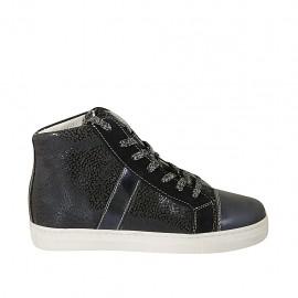 Zapato para mujer con cremallera, cordones y plantilla extraible en gamuza imprimida y piel brillante azul cuña 2 - Tallas disponibles:  33, 34, 42, 45