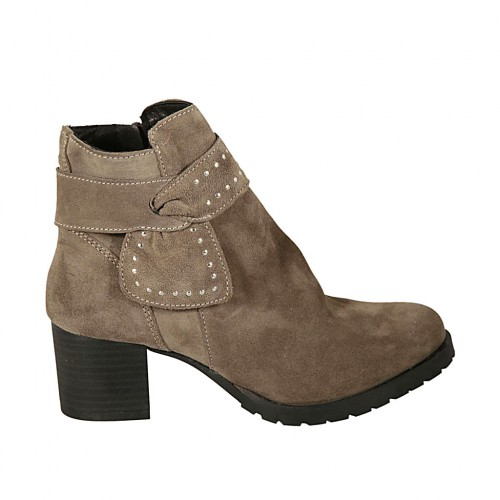 Woman's ankle boot with zipper and sash with studs in taupe suede heel 5 - Available sizes:  42, 43, 44