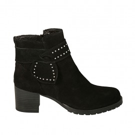 Woman's ankle boot with zipper and sash with studs in black suede heel 5 - Available sizes:  33, 34, 42, 43, 44, 45
