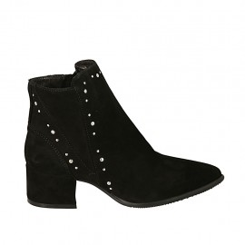 Woman's pointy ankle boot with zipper and studs in black suede heel 4 - Available sizes:  32, 33, 34, 42, 43, 44