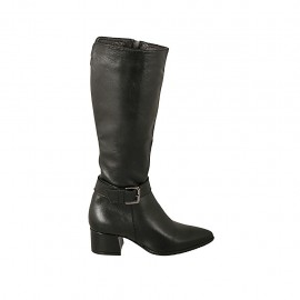 Woman's pointy boot with buckle and zipper in black leather heel 4 - Available sizes:  32, 33, 34, 42, 43, 44, 45