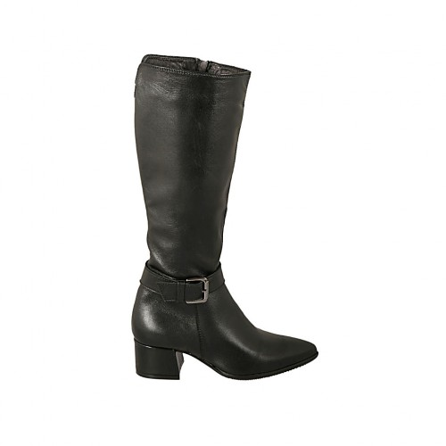Woman's pointy boot with buckle and zipper in black leather heel 4 - Available sizes:  33, 42, 43