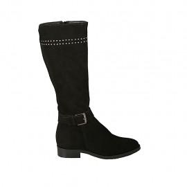 Damenstiefel mit Reißverschluss, Schnalle und Nieten aus schwarzem Wildleder Absatz 2 - Verfügbare Größen:  34, 43, 45