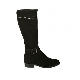 Woman's boot with zipper, buckle and studs in black suede heel 2 - Available sizes:  33, 34, 42, 43, 44, 45