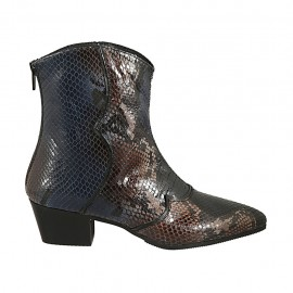 Woman's pointy ankle boot with zipper in black, blue and brown printed leather heel 4 - Available sizes:  42, 43, 44, 45, 46, 47