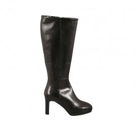 Bota para mujer con plataforma y cremallera en piel negra tacon 8 - Tallas disponibles:  42, 43