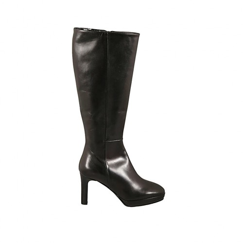 Woman's boot in black leather with platform and zipper heel 8 - Available sizes:  34, 42, 43