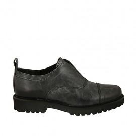 Zapato para mujer en piel negra con efecto marmolado tacon 3 - Tallas disponibles:  33, 42, 43, 44, 45