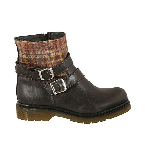 Woman's ankle boot with zipper and buckles in dark brown leather and plaid fabric heel 3 - Available sizes:  32, 33, 34, 42, 43, 44, 45