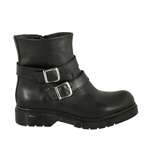 Woman's ankle boot with zipper and two buckles in black leather heel 3 - Available sizes:  32, 33, 34, 43, 44, 45