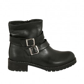 Woman's ankle boot with zipper and buckles in black leather heel 3 - Available sizes:  33, 34, 43, 45