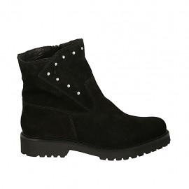Woman's ankle boot with zipper and studs in black suede heel 3 - Available sizes:  32, 33, 34, 42, 43, 44, 45