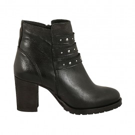Woman's ankle boot with inner zipper and studs in black leather heel 7 - Available sizes:  32, 33, 34, 42, 43, 44, 45