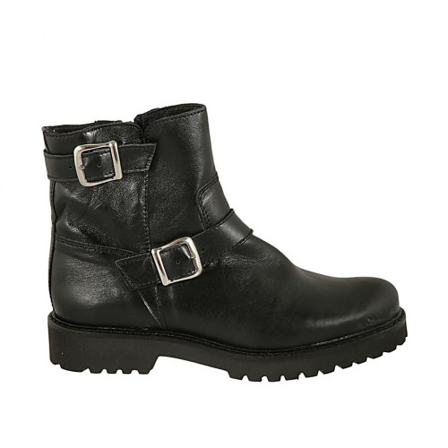 Woman's ankle boot with buckles and zipper in black leather heel 3 - Available sizes:  32, 33, 34, 43, 44