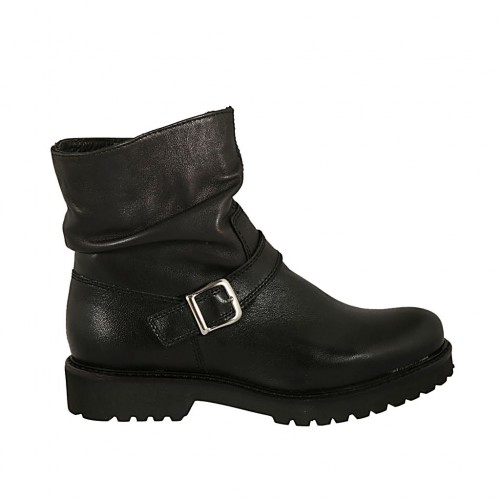 Woman's ankle boot with buckle and zipper in black-colored leather heel 3 - Available sizes:  34, 44, 45