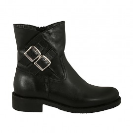 Woman's ankle boot with zipper and buckles in black smooth leather heel 3 - Available sizes:  32, 33, 34, 42, 44