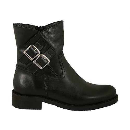 Woman's ankle boot with zipper and buckles in black smooth leather heel 3 - Available sizes:  32