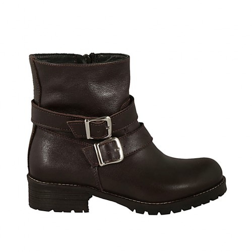 Woman's ankle boot with zipper and buckles in brown leather heel 3 - Available sizes:  32, 33, 34, 44