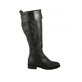Bottes à bout pointu pour femmes en cuir noir avec revers, elastique, lacets et fermeture éclair talon 3 - Pointures disponibles:  34, 43, 44, 45