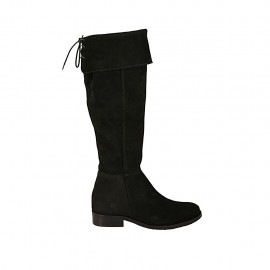 Botas a punta para mujer en gamuza negra con solapa, elastico, cordones y cremallera tacon 3 - Tallas disponibles:  33, 34, 42, 43, 44, 45
